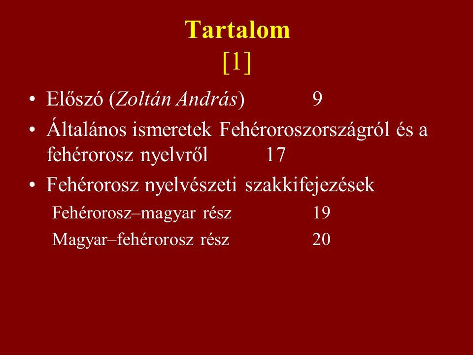 Tartalom [1] Előszó (Zoltán András) 9